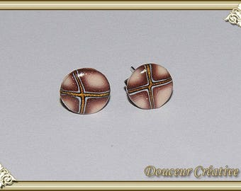 Earrings brown beige Golden 104045