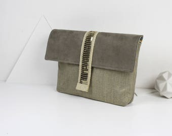 Clutch purse gold lame linen suede and gold glitter