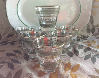 Beautiful Retro Low ball glassware mid century barware glasses