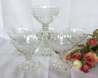 Vintage 6 Boopies Anchor Hocking glassware Leaf wreath etching champagne or sherbet stems