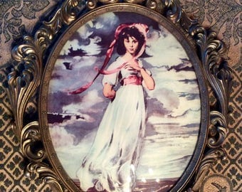 "Vintage Italian 16"" long metal medallion frame Pink ribbons dancing girl convex glass"