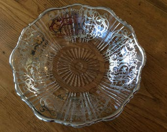 Small silver overlay dish condiments bowl display collectible Urn pattern