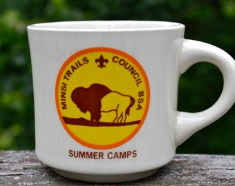 Vintage Boy Scout Coffee Mug. Minsi Trails Council.  Buffalo.  Bison. Summer Camps. PA. NJ. BSA.  VCMS186