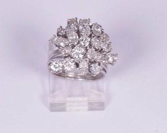 Platinum 3.5 ct. tw. Diamond Cluster Ring, size 3