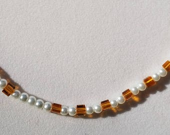 Topaz Glass Cubes and Glass Pearls