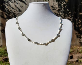 Faceted Labradorite and Bone Beads