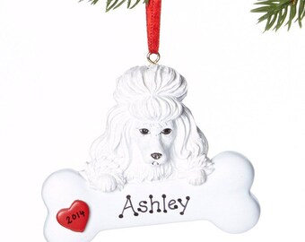 White Poodle Personalized Christmas Ornament, Ornament, Personalized, Poodle, Poodle Gift, White Poodle