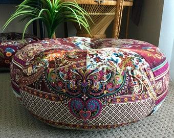Unfilled 24 Inch 'Bella' Bohemian Chic Pouffe Cover, Made in Australia Meditation Cushion, Bohemian, Boho Pouf, Floor Cushion Moroccan Pouf