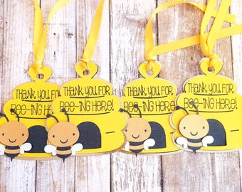 Set of 12 Bee Thank You Tags, Bee Gender Reveal, Bee Thank You, Bee Gender Reveal Decorations