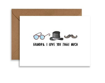 "Fathers Day printable card for Grandpa. 5""x7"" instant download card for Grandpa. Hand drawn greeting card."