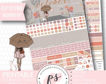 Rose Fall (Dark Skin Tone) October 2017 Monthly View Kit Printable Planner Stickers (for ECLP) | JPG/PDF/Silhouette Compatible Cut File