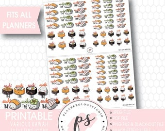 Kawaii Cute Sushi Time Icons Digital Printable Planner Stickers | JPG/PDF/Silhouette Cut Files/Black Out Files