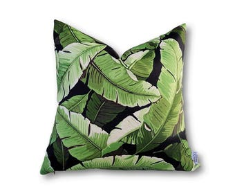Lush Palm Leaf Black Cushion Cover, Indoor Outdoor Cushion Cover, Tropical Cushions, Palm Tree Cushion Cover, Tropical Home Decor