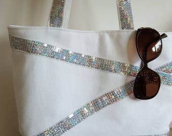 Silver leatherette with ultra sparkly sequins and thick cotton tote bag size M