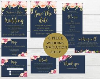 Navy Wedding Invitation Suite, Floral Invitation, Boho Wedding, Save the date, Wedding Menu, Printable Wedding, Thank You Card, IDWS502_20C
