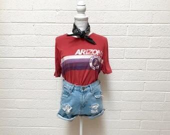 Vintage Distressed University Of Arizona Graphic T-shirt - Faded Red Tucson Arizona U of A Tee - Wilbur Wildcats Tee - Large