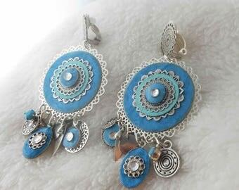 Earring clip turquoise Babylon (made in France)
