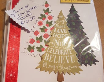 A Pack of 10 Handmade Christmas Cards