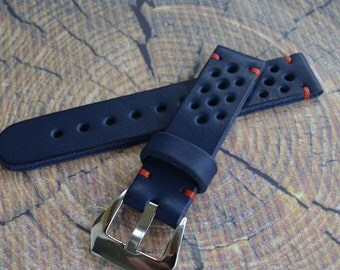 Thick Rally racing tapered Tan cowhide leather watch strap/ mens Blue wrist watch band/ 20mm 21mm 22mm 23mm 24mm