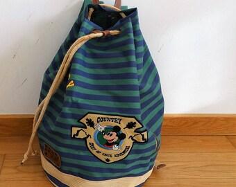 Mickey Mouse backpack kids rucksack waxed canvas bag vegan backpack canvas weekender bag shouser bucket bag city backpack Vintage dead stock