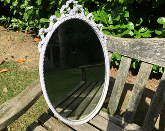 Hand painted vintage oval ornate mirror in lavender
