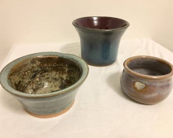 Handmade Pottery Lot - small bowl - heart jewelry holder - blue purple