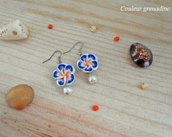 Tiare flower and Pearl Earrings