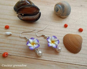 Earrings purple and yellow tiare flower, gift idea party big day, Easter