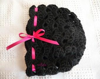 BLACK BABY HAT