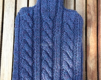Knitted Cable Pattern  hot water bottle cover. Comes with or without the Water bottle, Hand knitted