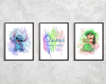 Ohana print,  Set 3 Lilo and Stitch print, Ohana SEt, Ohana watercolor, Birthday party art,  Lilo and Stitch decor, ohana Digital download