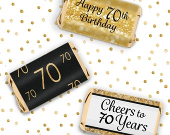 70th Birthday Party Decorations - Gold & Black - Stickers for Hershey's Miniature Bars - Happy 70th Birthday Party Favors - 54 Count