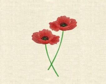 Machine embroidery poppy flowers