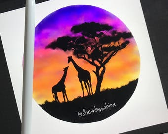 Giraffes and Sunset Print