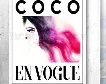Vogue Print, Vogue Poster, Vogue Art Print, Coco Art Print, Vogue Printable, Coco Chanel Art, Glamour Art Prints, Fashion Watercolor