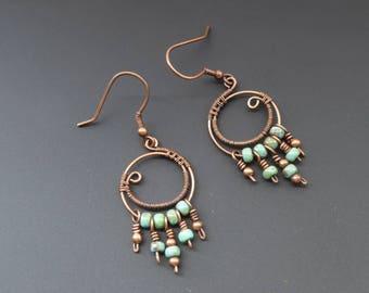 Copper hoop earrings, wire wrapped jewelry, wire jewellery, copper earrings, hook earrings, bohemian earrings,