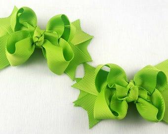 Apple Green Mini Hair Bows-Set of 2/Hair Accessories/Little Girl Hair Bow/Toddler Hair Bow/Accessory/Mini Hair Bows/Pig Tail/Piggy Tail Bows