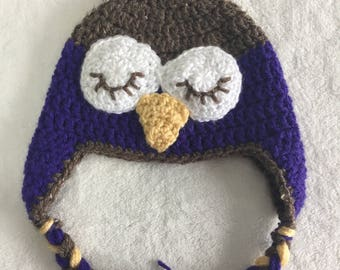 6 - 12 month owl hat earflap hat trapper hat