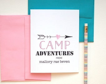 Camp Stationary, Kids Stationary Personalized Cards, Thank You Card, Sleep Away Camp Personalized Stationery Set of 10, Kids Summer Camp