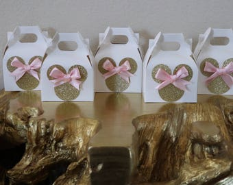Pink and Gold Minnie Mouse Favor Boxes