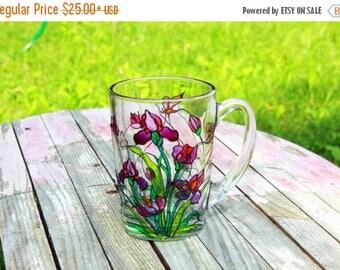 ON SALE Stained Glass Irises Mug - Coffee Mug Tiffany Style - Hand Painted Cup - Iris Flowers Coffee Mug - Personalized Mug - Hand Painted G