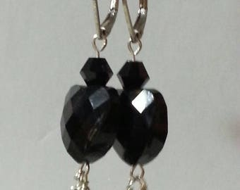 Small Handmade Black Dangling Heart Earrings Elegant