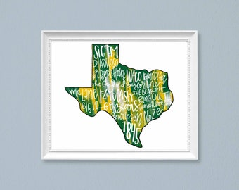 PRINT Baylor University Bears Typography Cardstock Print Wall Art, Sic 'Em Bears, College Football, Green and Gold, Waco, TX
