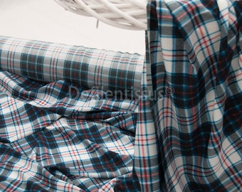 sheer Polyester printed blue plaid in 150cm by the yard No. 519
