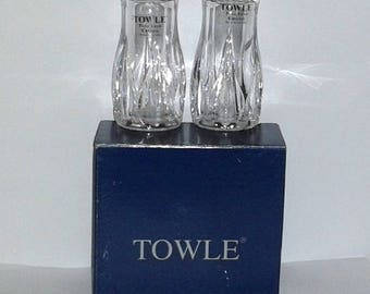 New TOWLE Full Lead Crystal Salt & Pepper Shaker Set in. Original Box - Made in Austria - Vintage Collectible