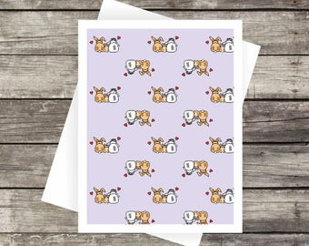 Bunny Family Love Pattern | Blank Card, Note Card, Greeting Card, Thank you Card