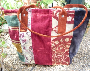 Velvet and tapestry patchwork zipped tote bag