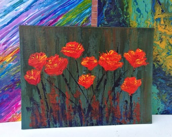 Red flowers before the storm (Acrylic on canvas)