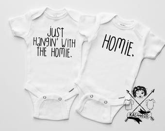 Hangin with the homie,  siblings tees, pregnancy announcement, matching set, matching tees, twin tees, baby announcement