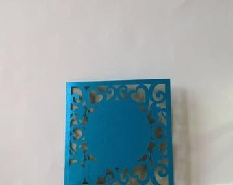 Blue and purple heart wedding invitation